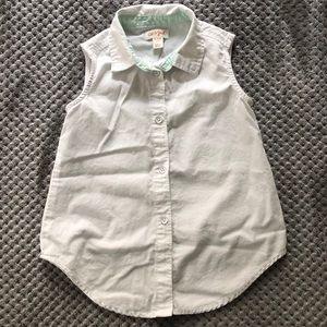 Cat & Jack white sleeveless button down shirt
